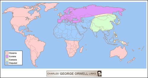 Par quel auteur a été créé Océnia, un monde fictif du roman '1984' ?