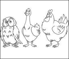 La poule et le canard se promènent un jour d'hiver, la poule lui dit : rentrons... .