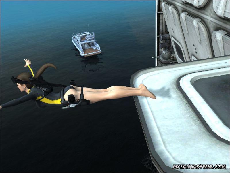 De quel bateau Lara plonge-t-elle ?