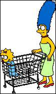 De quelle couleur est le caissier qui passe les articles de Marge ?