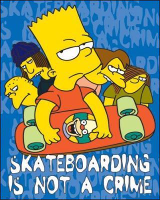 Sur qui Bart roule-t-il au début du générique ?