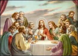 Au cours de ce dernier repas, Jésus institua un rite qui consistait à consommer du pain et du vin identifiés à son corps et à son sang. Quel est le nom de ce sacrement chrétien ?