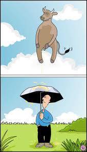 Pourquoi cet homme ouvre-t-il son parapluie ?