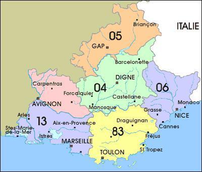 Quelle ville se situe dans le département du 13 ? (voir la carte)