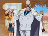 Qu'est-ce qui tombe sur la tête de Garp quand il va porter Luffy chez Dadan ?