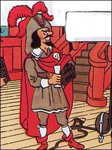 Cet homme tout de rouge vêtu , il s'agit de ... .