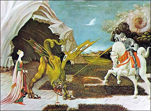 Paolo Uccello est l'auteur de ce tableau intitulé 'Saint Georges terrassant le dragon' :