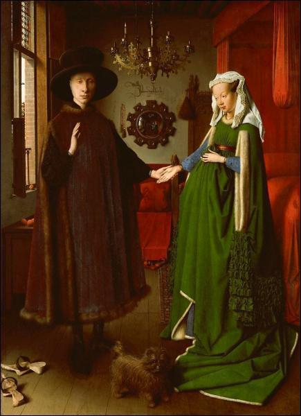 La renaissance s'est développée en Italie mais aussi en Europe du nord, dans les Flandres. Quel est l'artiste qui a peint ce tableau et qui s'est représenté dans le miroir du fond ?