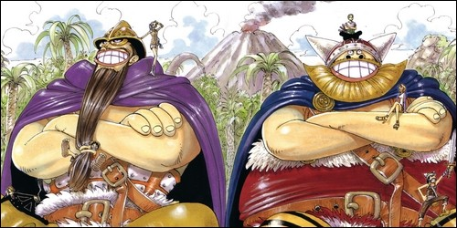 Comment s'appellent les deux géants que rencontre l'équipage de Luffy sur Little Garden ?