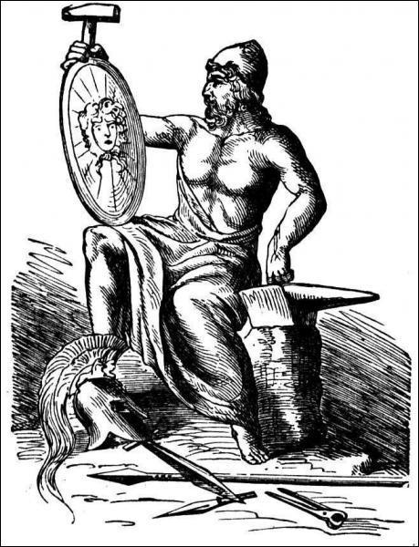 Dieu du feu, des forges et des volcans, un de mes nombreux attributs est le marteau :