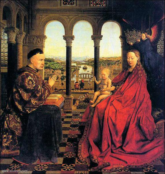 Quel flamand inventeur de la peinture à l'huile a peint 'La Vierge au chancelier Rollin' en 1435 ?