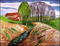 Qui a peint 'Paysage de printemps à la maison rouge' ?