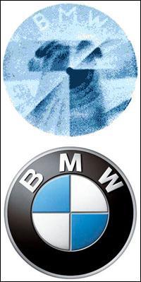 Que représente le centre du logo BMW ?