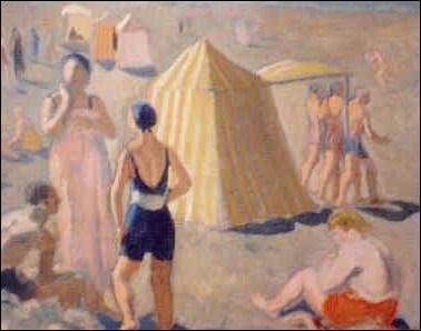 Qui a peint 'Petite plage au peignoir rose' ?