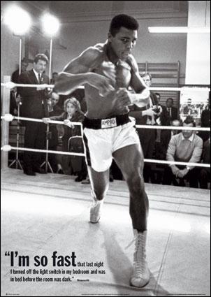 Mohamed Ali, a été le plus jeune champion de boxe poids lourd (1964). Il est connu pour sa rapidité et ses vers. Quelle était sa devise ?