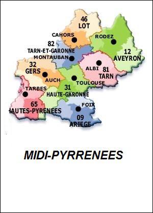 Combien de départements y a-t-il en Midi-Pyrénées ?