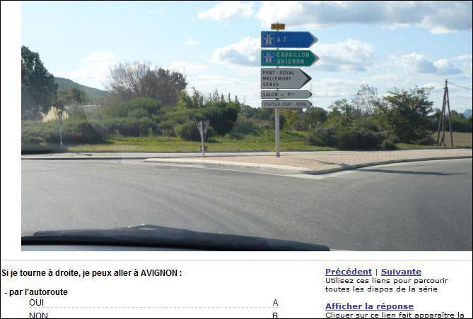 Si je tourne à droite, je peux aller à Avignon par l'autoroute ?