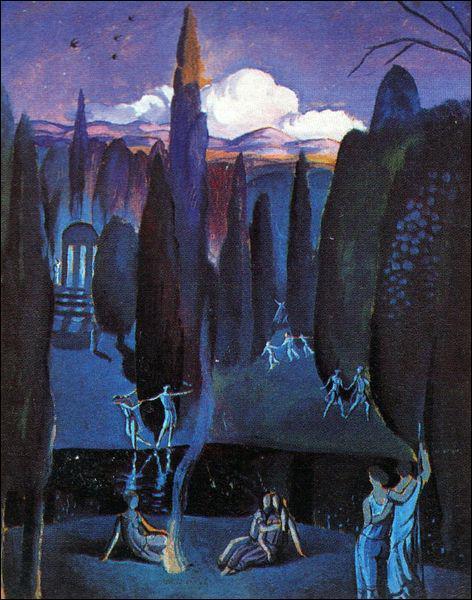 Qui a peint Nymphes dans un jardin romantique ?