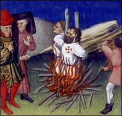 Pour quelle raison 'officielle' le roi fait-il emprisonner, torturer et brûler les Templiers ?
