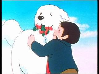 Un jour, un énorme chien arrive dans la région. Alors que les villageois le prennent pour un 'démon blanc', le héros l'adopte. De quelle race est cette magnifique chienne ?