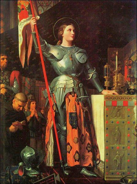 Jeanne d'Arc mène victorieusement les troupes françaises contre les armées anglaises. Elle sera capturée puis brûlée vive pour hérésie. Son procès sera cassé en 1456 par le Pape :