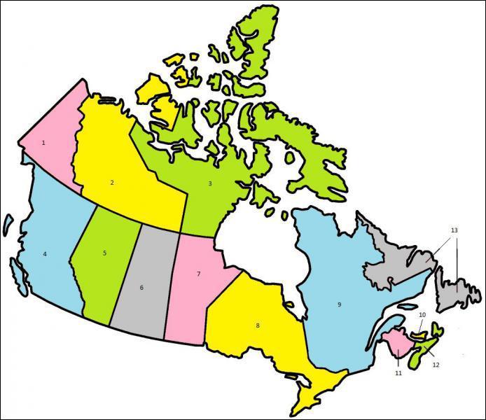 A quelle province canadienne correspond le chiffre 4 ?