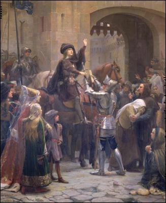 Pour parvenir au château royal de Chinon, Jeanne a besoin d'une escorte militaire. A quel seigneur et officier s'adresse-t-elle ?