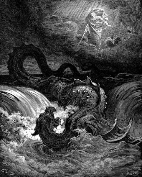 Monstre marin décrit dans la Bible comme ayant des dents redoutables, une force collossale et des yeux comme les rayons de l'aube :
