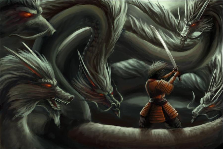 Serpent à huit têtes et huit queues dans la mythologie japonaise qui livra un combat sans mercie contre Susanoo, le dieu des orages :