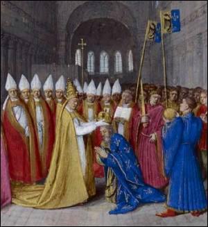 Charlemagne devient Empereur des Romains en 800 suite à un couronnement à Rome.