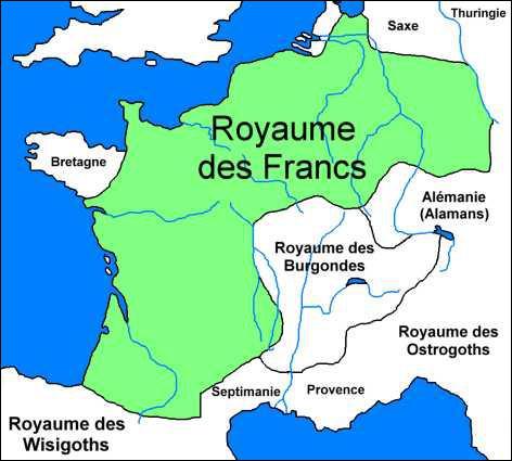 Les Francs ont pénétré dans le territoire gallo-romain à partir du Vème siècle, par le Nord.