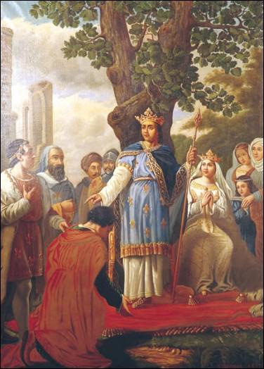 Selon la tradition, Saint Louis rend la justice sous un chêne au bois de Boulogne.