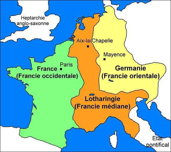 Lors du partage de Verdun (843) qui divise l'empire de Charlemagne, la Francie occidentale revient à Charles II le Chauve.