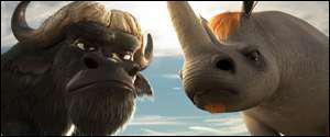 Au début du film , le bufle et le rhinocéros sont ...