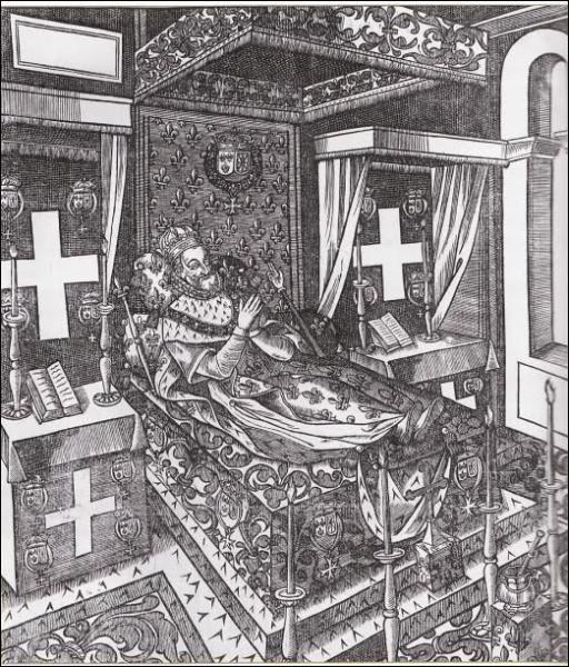 A la mort du roi, pour incarner la continuité de la monarchie, on expose... ?