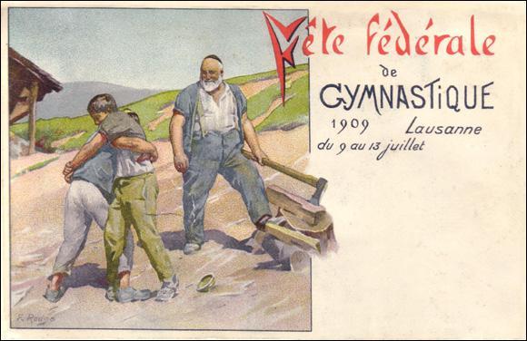 Quel sport est représenté sur cette affiche publicitaire pour la fête de la gymnastique ? (CLIQUEZ sur l'image)