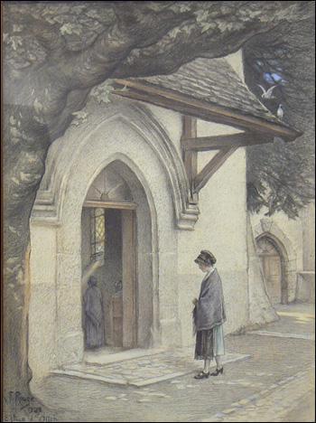 Ici le peintre a dessiné Ollon, le village où il a terminé sa vie. Dans quel bâtiment entre la villageoise ? (CLIQUEZ sur l'image)