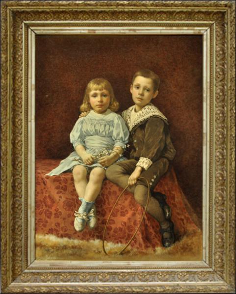 Dans ce portrait de 'Deux enfants', que tient la petite fille ? (CLIQUEZ sur l'image)