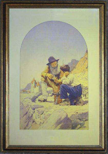 Dans 'La leçon de taille', un vieil homme enseigne à un enfant à tailler les vignes. Que voit-on à l'arrière-plan de l'aquarelle ? (CLIQUEZ sur l'image)