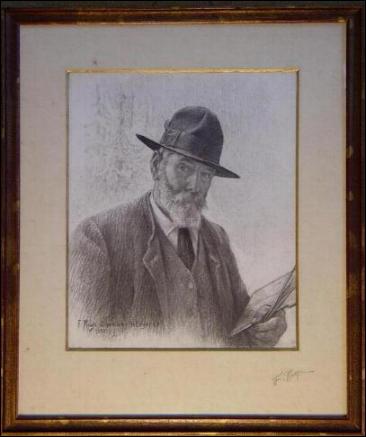 Frédéric Rouge (1867-1950) est un peintre suisse du canton de Vaud. Que tient-il sur cet autoportrait ? (CLIQUEZ sur l'image)