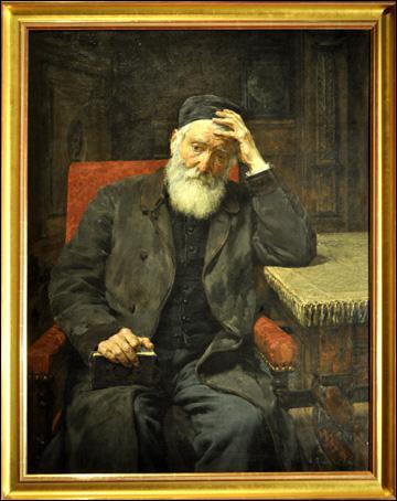Dans cet émouvant portrait du père de l'artiste, que distingue-t-on à l'arrière-plan à droite ? (CLIQUEZ sur l'image)