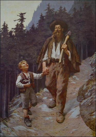 Ici Frédéric Rouge peint 'le retour du bûcheron'. Que tient l'enfant contre sa poitrine ? (CLIQUEZ sur l'image)