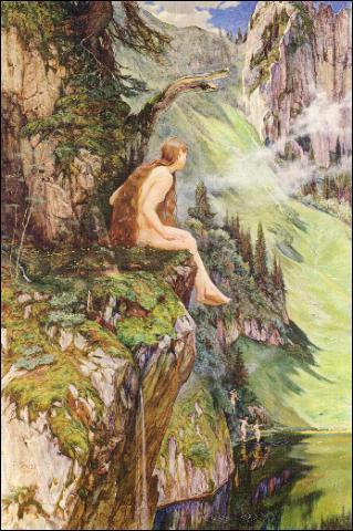 Ce tableau représente les 'Fées de Nairvaux' : l'une est assise sur une corniche, mais que font les trois autres ? (CLIQUEZ sur l'image)