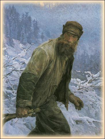 Voici la plus célèbre toile de Frédéric Rouge. Quel est ce personnage qui marche au milieu de l'hiver ? (CLIQUEZ sur l'image)