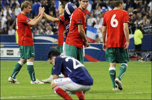 Les Bleus ont ensuite perdu face à la Biélorussie au Stade de France...