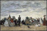 Eugène Boudin : 'La plage à ... '.