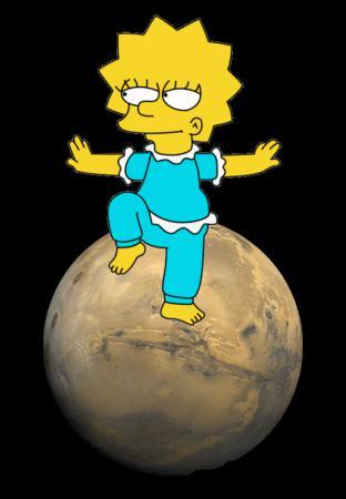 Lisa se perche sur une planète coiffée de deux satellites, Deimos et Phobos, en équilibre sur le volcan Olympus Mons !