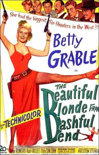 Dans quel film, dont le titre original est 'The Beautiful Blonde from Bashful Bend', peut-on admirer Betty Grable en chanteuse de saloon vêtue de rouge ?