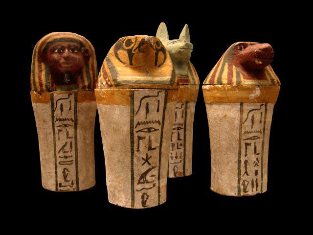 Voici les vases canopes tels que vous les connaissez surement. Quelles divinités représentent-ils ?