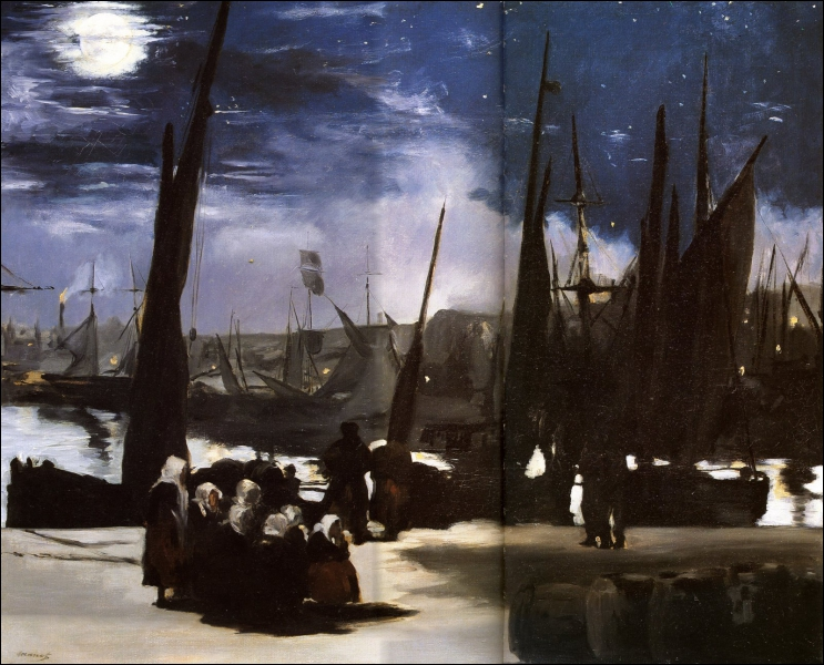 Qui a peint 'Clair de lune sur le port de Boulogne' ? (CLIQUEZ SUR L'IMAGE pour l'agrandir. )
